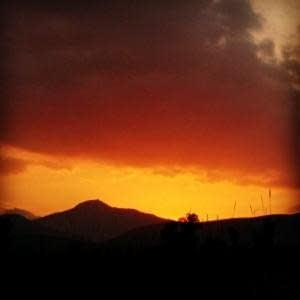 Sunset over Mount Artemision from Myloi