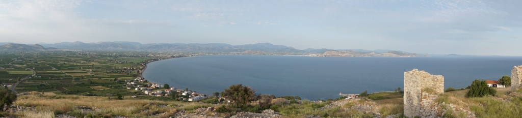 Another panorama (Argos left, Nafplio right) showing part of the castle