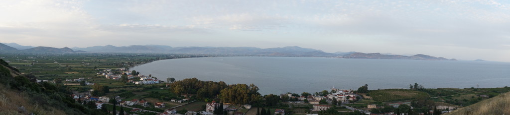 A panorama with Argos to the left and Nafplio to the right