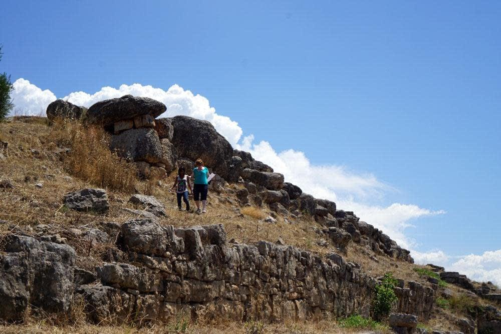 Descending the terrace at the Argive Heraion