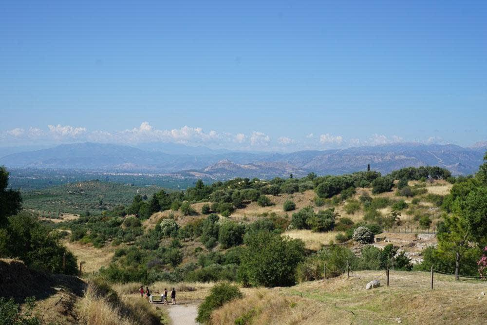 Looking towards the plain from the Tomb of Clytemnestra